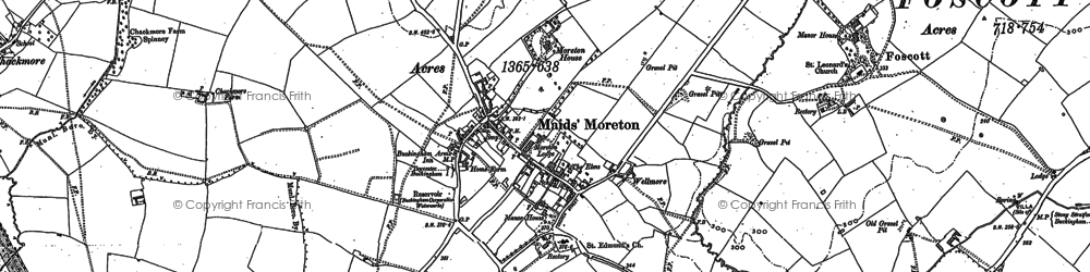 Old map of Maids' Moreton in 1899