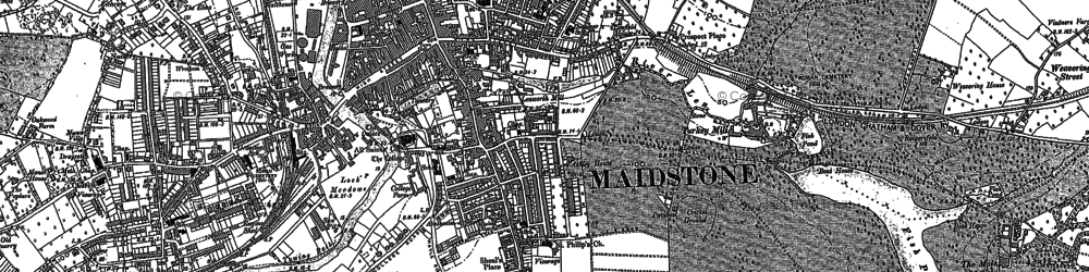 Old map of Maidstone in 1867