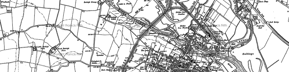 Old map of Maldon in 1895