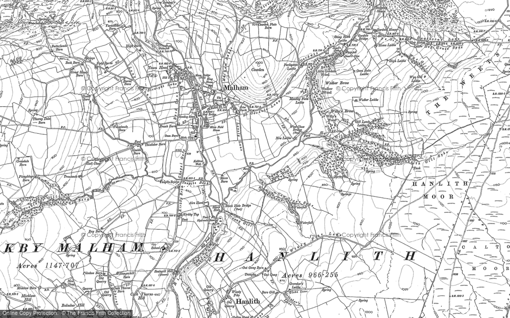 Old Map of Historic Map covering Aire Head in 1907