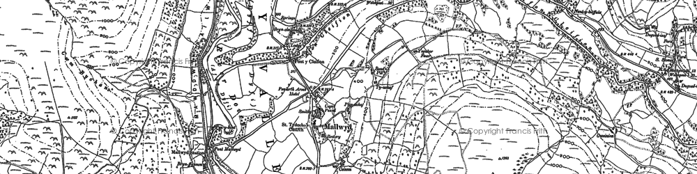 Old map of Mallwyd in 1886