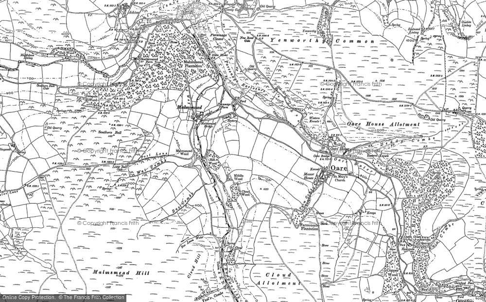 Old Map of Historic Map covering Badgworthy Water in 1903