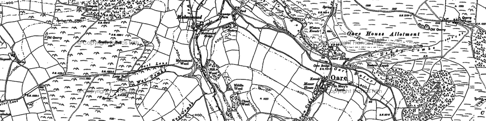 Old map of Badgworthy Water in 1903