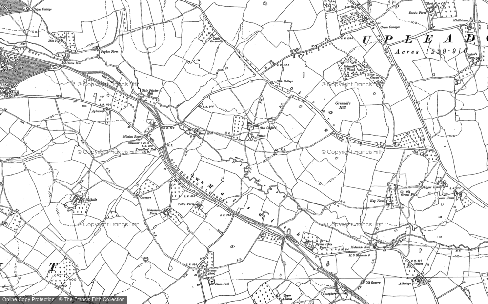 Old Map of Historic Map covering Alderleys, The in 1882