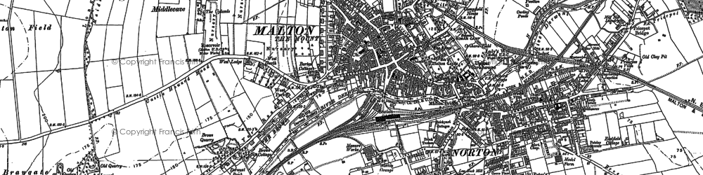 Old map of Malton in 1888