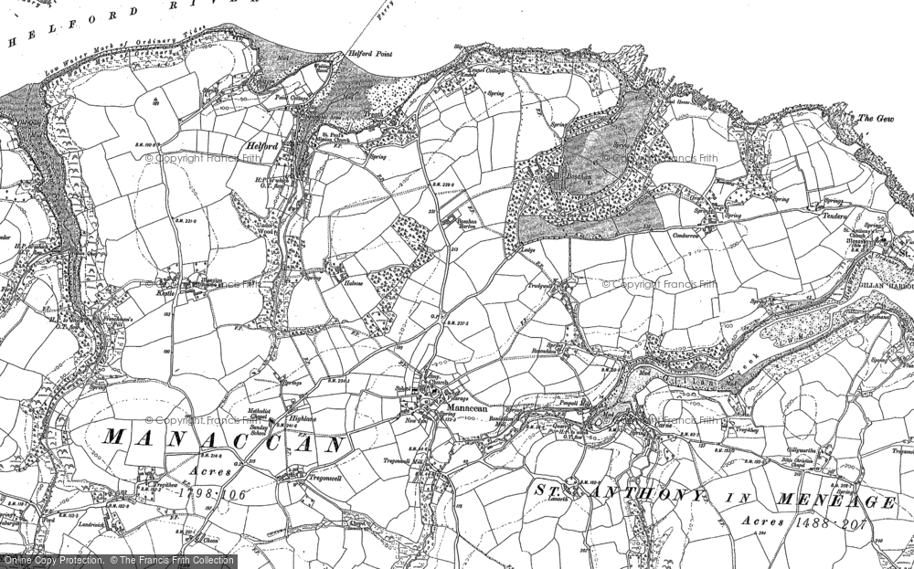 Old Map of Manaccan, 1906 in 1906