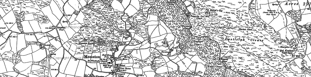 Old map of Manaton in 1885