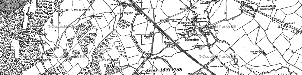 Old map of Mancetter in 1901