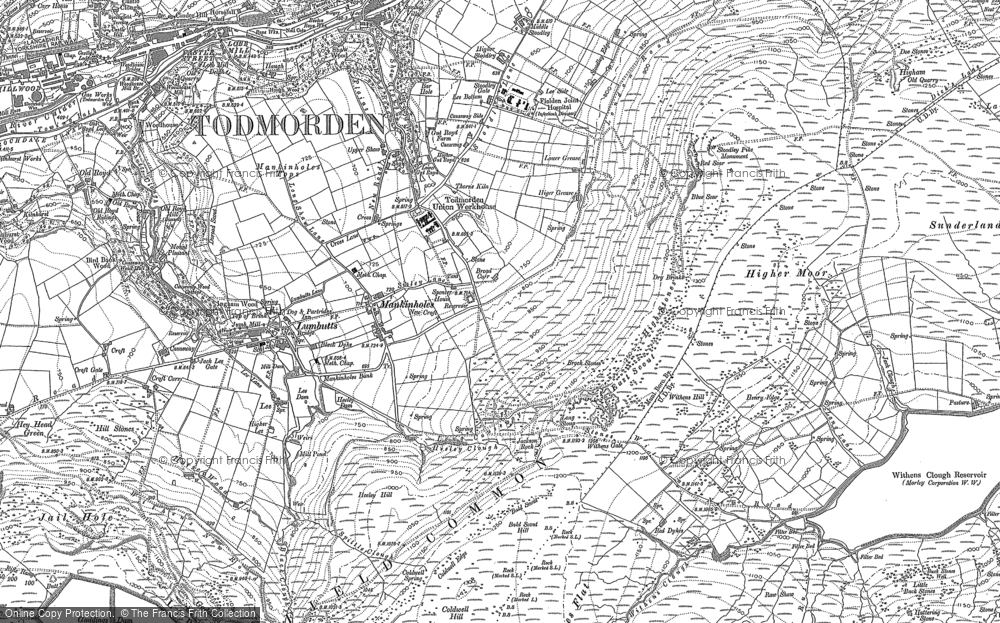 Old Map of Mankinholes, 1905 in 1905