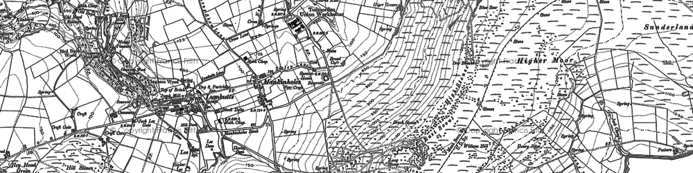 Old map of Withins Clough Reservoir in 1905