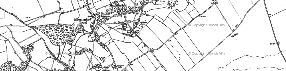 Old map of Manningford Abbots in 1899