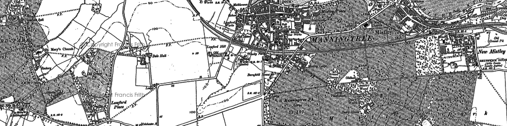 Old map of Manningtree in 1896