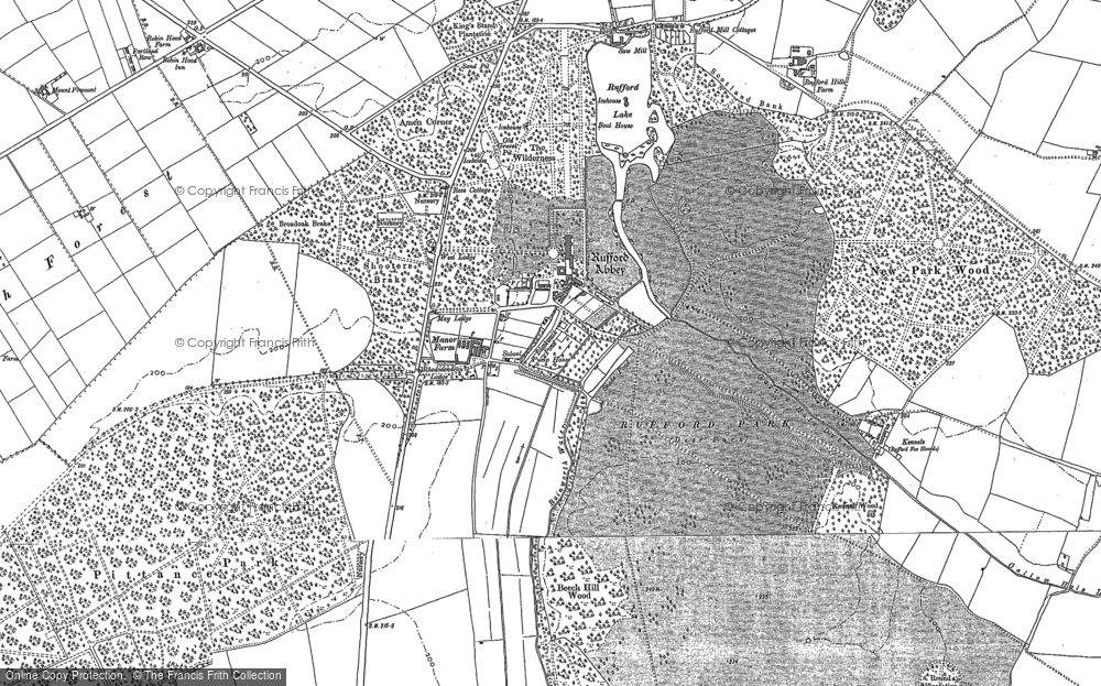 Old Map of Historic Map covering Amen Corner in 1884