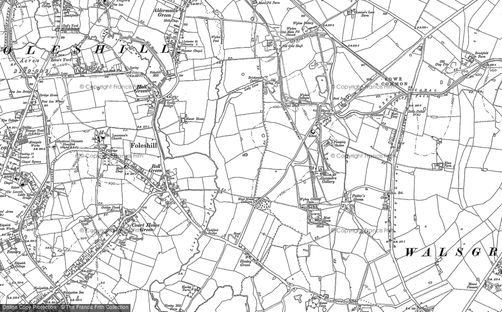 Old Map of Historic Map covering Wood End in 1886