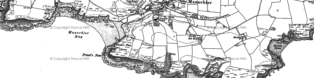 Old map of Manorbier in 1906