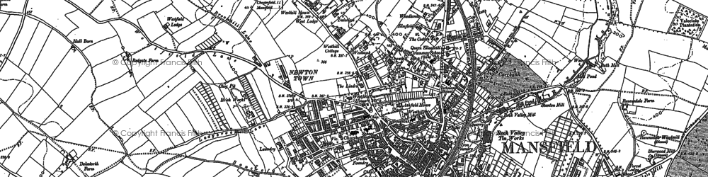 Old map of Mansfield in 1884