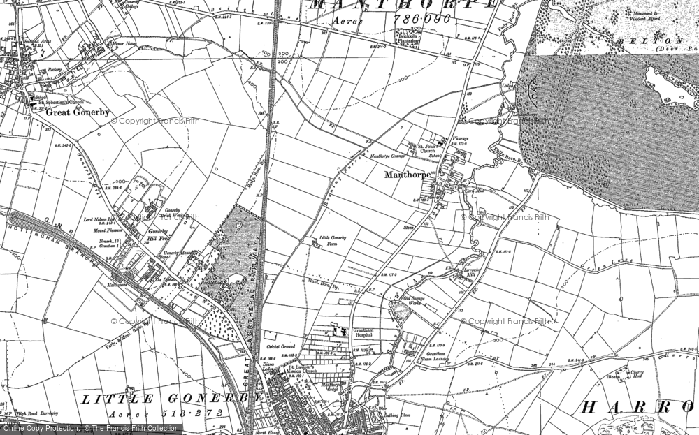 Old Map of Historic Map covering Alma Park Industrial Estate in 1885