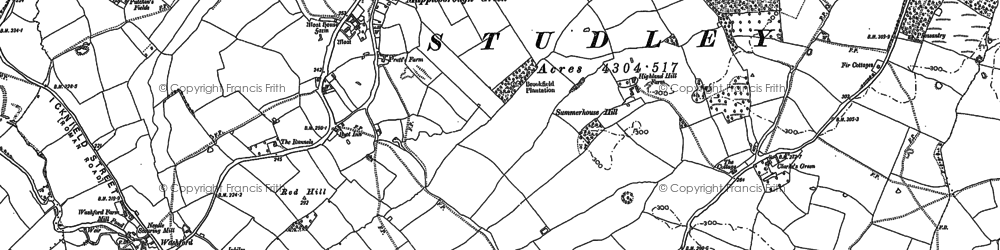 Old map of Winyates Green in 1886