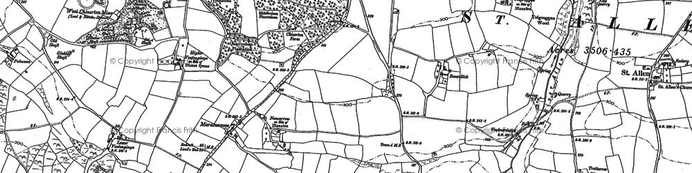 Old map of Marazanvose in 1886