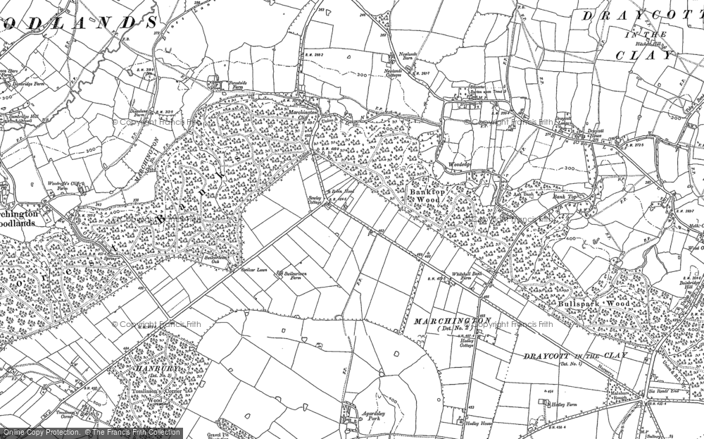 Old Map of Historic Map covering Banktop Wood in 1882