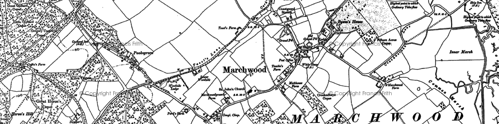 Old map of Marchwood Park in 1895