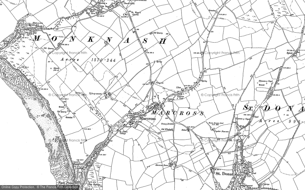 Old Map of Historic Map covering Lan-Farm in 1897
