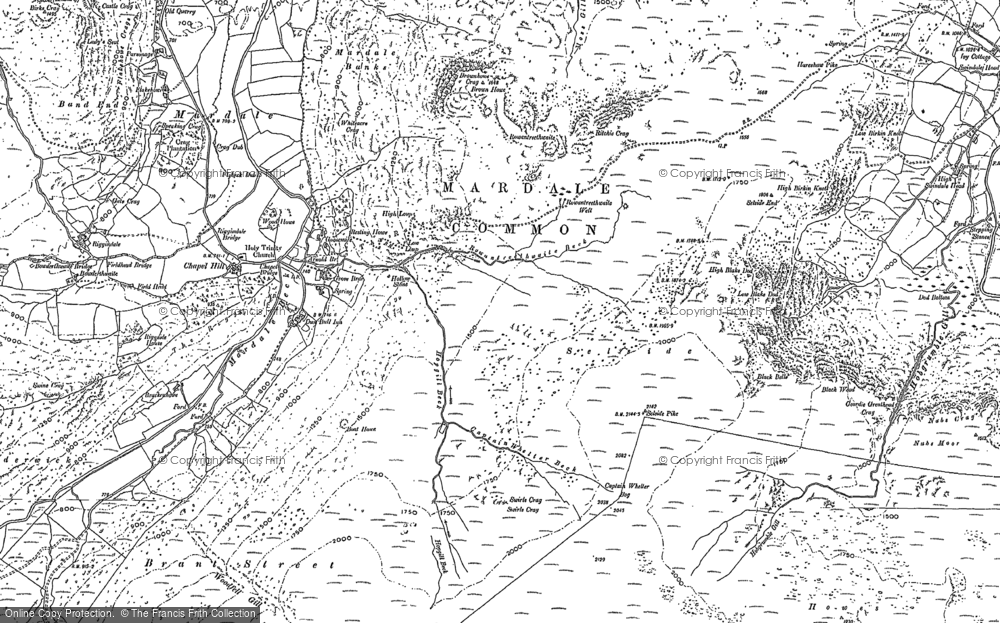Old Map of Historic Map covering Adam Seat in 1897