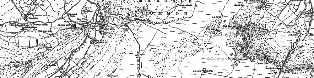 Old map of Whelter Crags in 1897