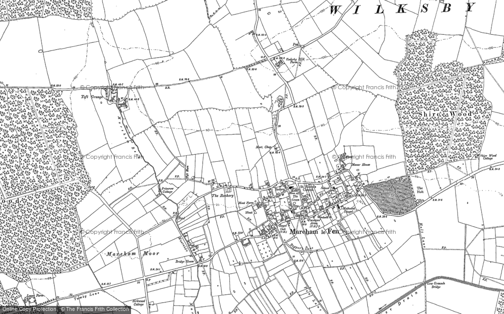 Old Map of Historic Map covering Toft Grange in 1887