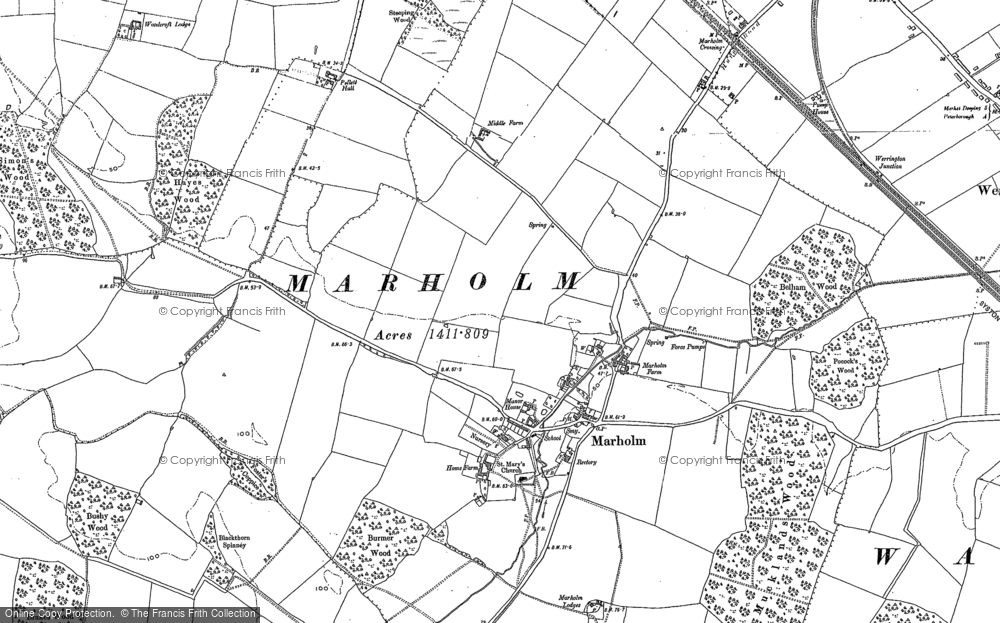 Old Map of Historic Map covering Woodcroft Lodge in 1899