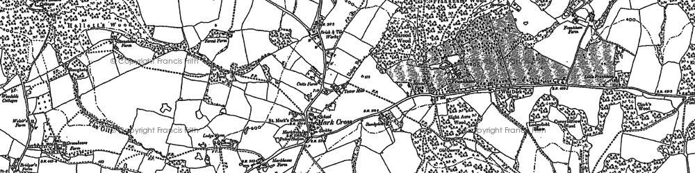 Old map of Mark Cross in 1897