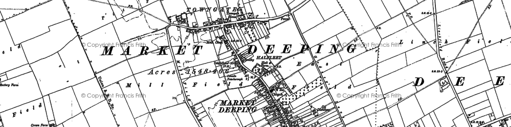 Old map of Market Deeping in 1886