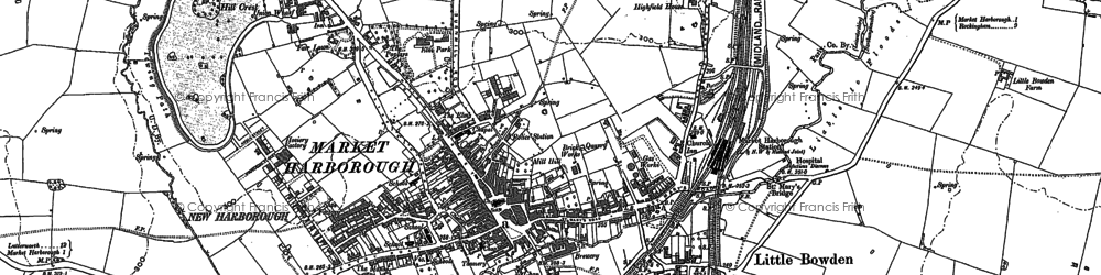 Old map of Market Harborough in 1899