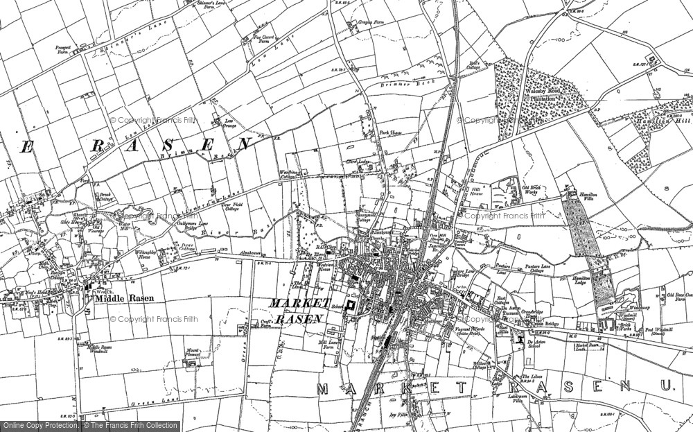 Old Map of Historic Map covering Woodlands in 1886