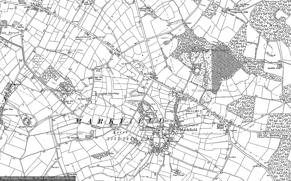 Old Map of Historic Map covering White Hill in 1883