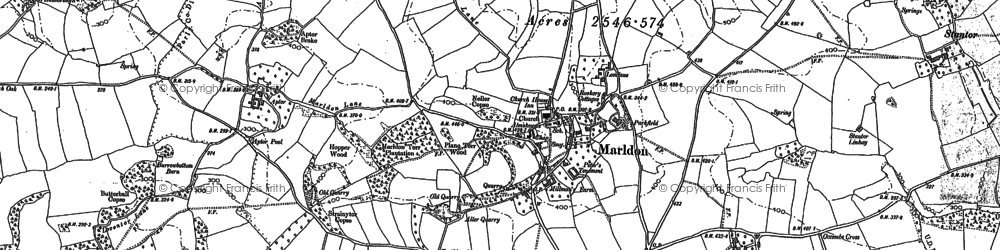 Old map of Marldon in 1886