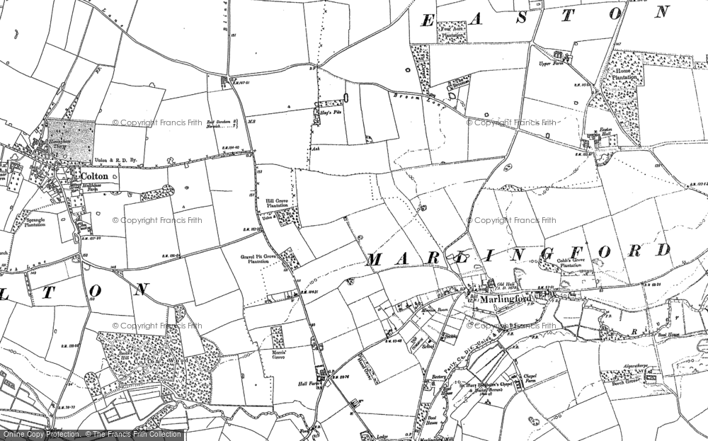 Map of Marlingford, 1882