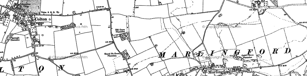 Old map of Marlingford in 1882