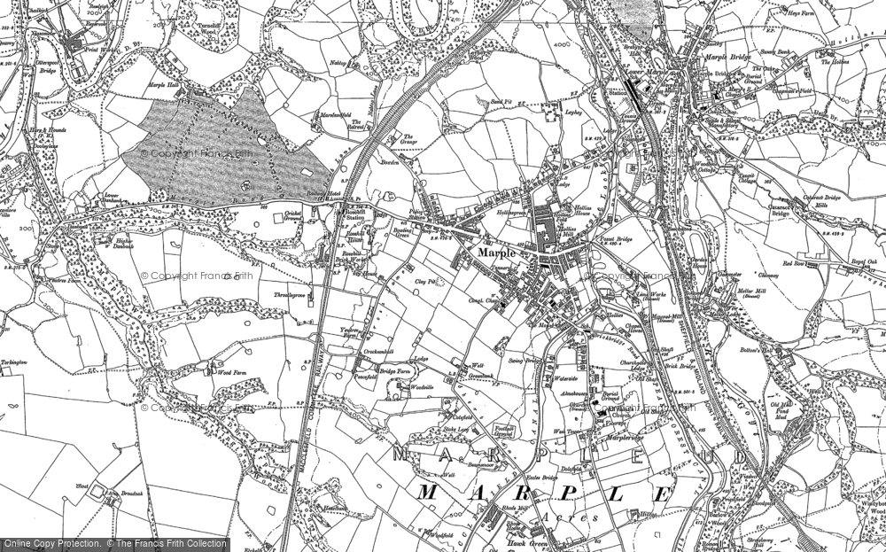 Old Map of Historic Map covering Ley Hey Park in 1907