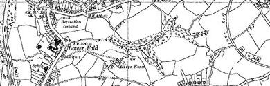 Old map of Bottom's Hall centred on your home