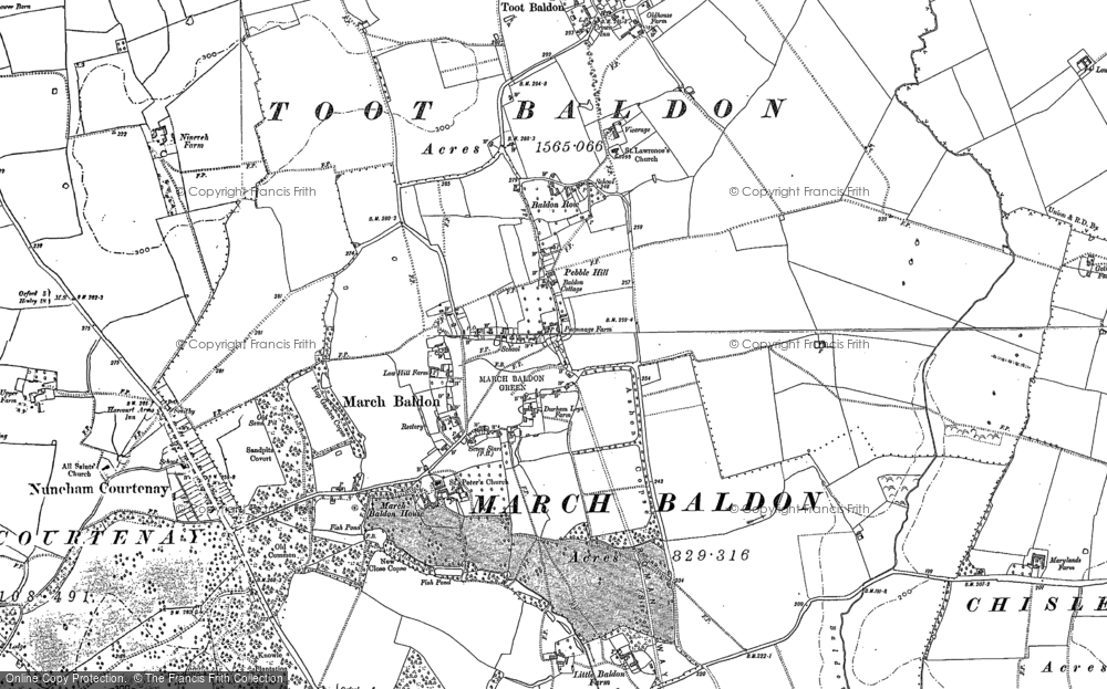 Old Map of Historic Map covering Baldon Ho in 1897