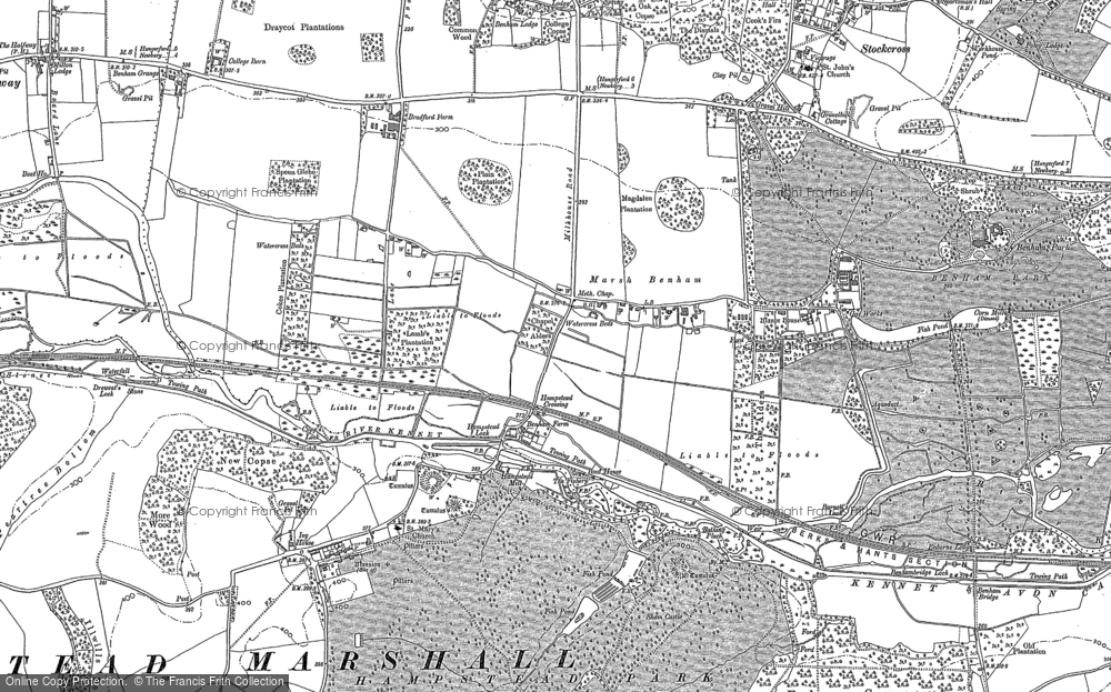 Old Map of Historic Map covering Benham Park in 1898