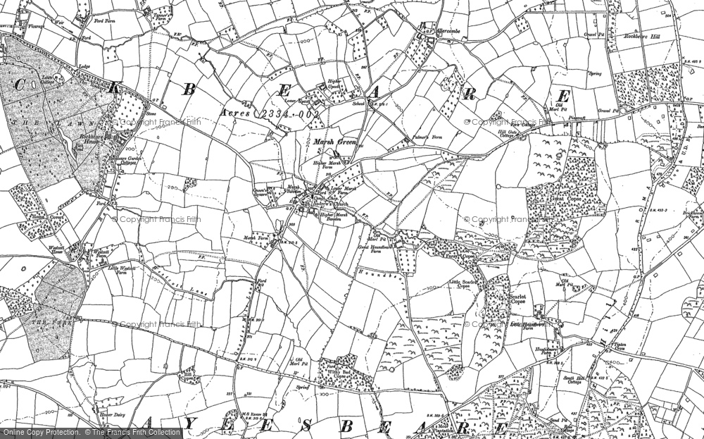 Old Map of Historic Map covering Allercombe in 1888