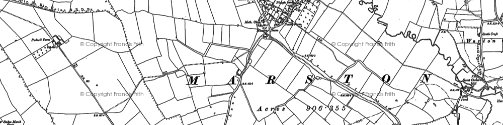 Old map of Worton Common in 1899