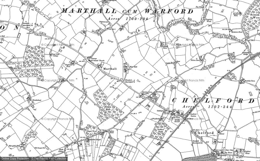 Old Map of Historic Map covering Baguley Fold in 1897
