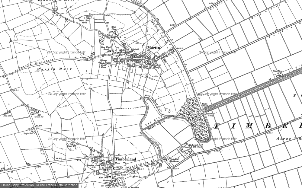 Old Map of Historic Map covering Linwood Moor in 1887