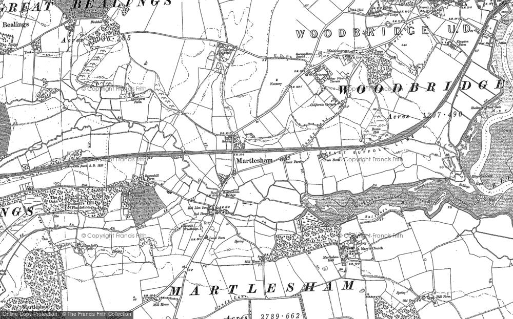 Old Map of Martlesham, 1881 in 1881