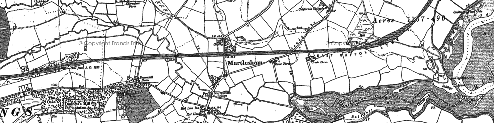 Old map of Martlesham in 1881