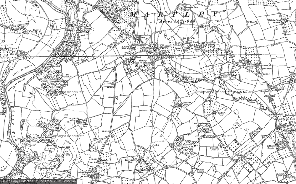 Old Map of Martley, 1883 - 1884 in 1883