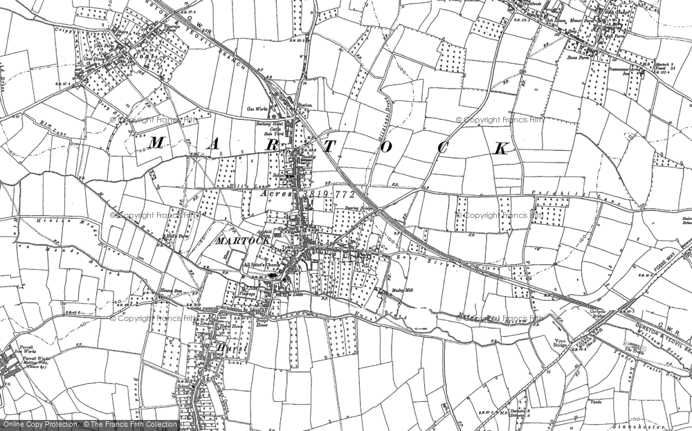 Old Map of Martock, 1886 in 1886